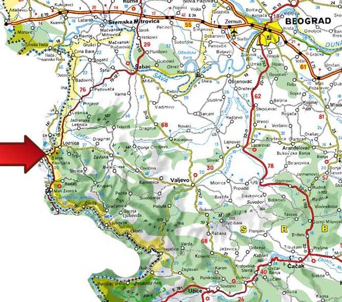mapa srbije valjevo Mapa | Banja Koviljača mapa srbije valjevo